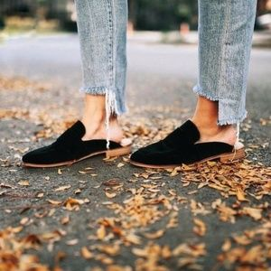 Free People At Ease Black Velvet Mules Loafers